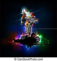 illustration of trendy guy in dancing pose on abstract background