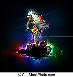 Dancing Guy - illustration of trendy guy in dancing pose on...
