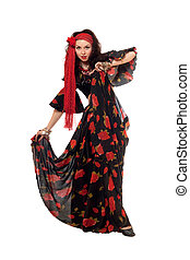 Dancing gypsy woman. Isolated