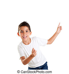 dancing happy children kid boy with fingers up isolated on...