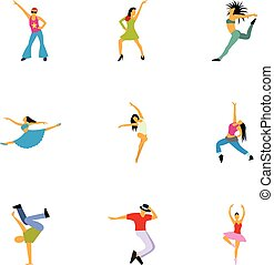 Dancing icons set, flat style
