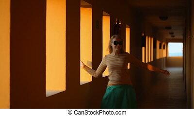 Dancing in hotel corridor