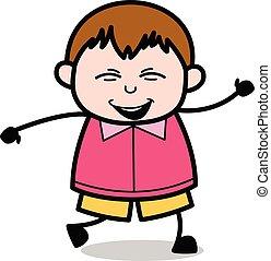 Dancing in Joy - Teenager Cartoon Fat Boy Vector Illustration