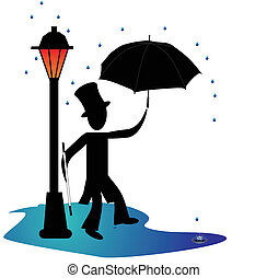 Man dancing in the rain by a gas light, lamp post, with umbrella....