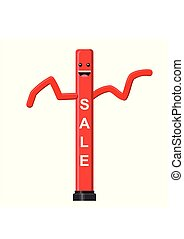 Dancing inflatable red tube man in flat style isolated on white background. Wacky waving air hand for sales and advertising. Vector illustration