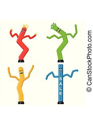 Dancing inflatable tube man set in flat style isolated on...