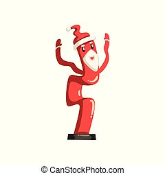 Dancing inflatable tube, Santa Claus with waving hands vector Illustrations on a white background