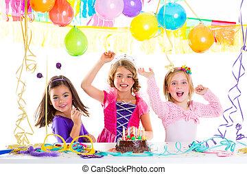 dancing, jarig, lachen, feestje, geitje, kinderen, vrolijke