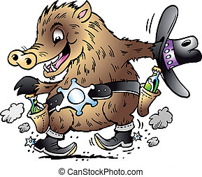 Dancing Javelina Boar  - Handdrawn vector illustration