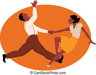 Dancing jitterbug - Black couple dancing jitterbug or rock...