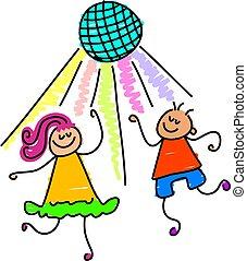 dancing kids - little kids dancing under the disco ball -...