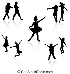 Dancing kids - Silhouettes of children at dance