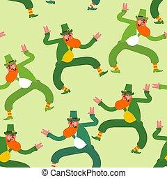 Dancing Leprechaun pattern seamless. Irish background. St.Patrick 's Day. Holiday in Ireland