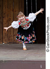 Dancing little girl acting on the stage - Smiling, happy...