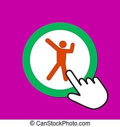 Dancing male icon. Happy, joy concept. Hand Mouse Cursor Clicks the Button.