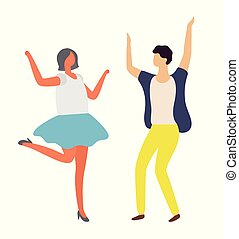 Dancing Man and Woman, Disco Party, Dancer Vector