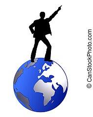 dancing man on globe