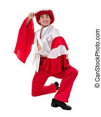Dancing man wearing a toreador costume. Isolated on white background.