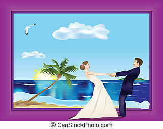 Dancing married couple on beach