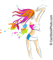 dancing, meisje, silhouette, met, een, langharige
