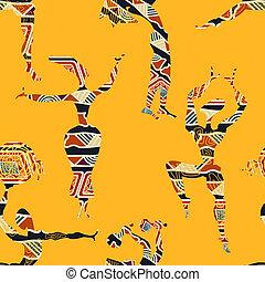 dancing, mensen., ethnische , seamless, textuur, figuren, gele, v