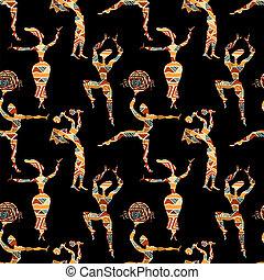 dancing, mensen., seamless, textuur, vector, figuren, ethnische