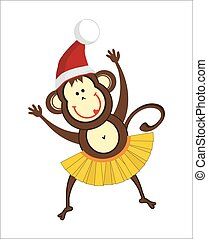 dancing monkey in a Santa hat...