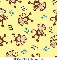 Dancing monkey to music seamless pattern