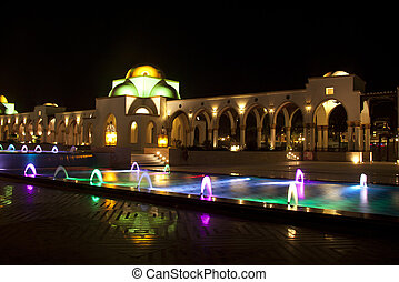 Dancing Multi Colored fountain at dark night