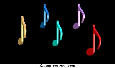 Dancing multicolored musical notes. 3d musical notes on black background.