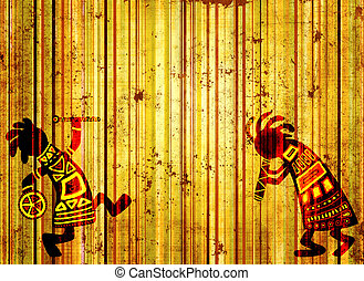 African national patterns - Dancing musicians. African...