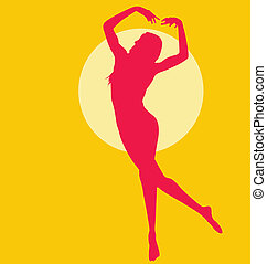 Dancing Naked Woman Red on Yellow