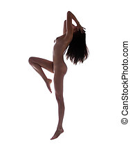 dancing naked woman - dark silhouette picture of dancing...