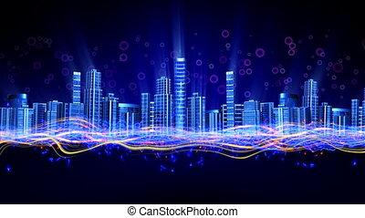 Dancing skyscrapers at night city