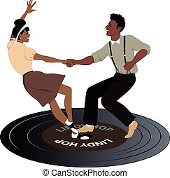 Dancing on a record - Young black couple dressed in late...