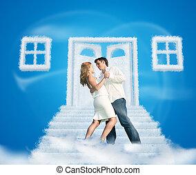 dancing, paar, op, droom, wolk, deur, weg, en, vensters, collage, op, blauwe