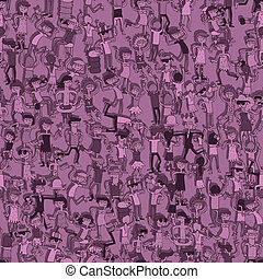 Dancing party seamless pattern with doodled youngsters having fun. Illustration is in eps8 vector mode, background on separate layer.