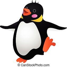 Dancing penguin icon, cartoon style