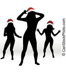 Dancing people. Christmas background .