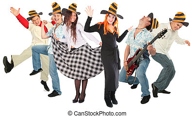 dancing people group in halloween hats isolated