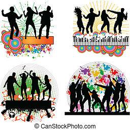 Dancing people -grunge background