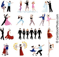 Dancing People Icons Set