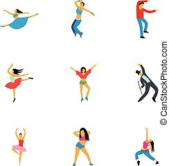 Dancing people icons set, flat style