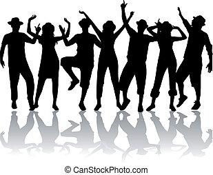 Dancing people in hats