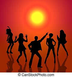 dancing people in sunset