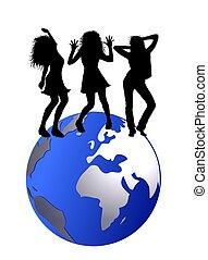 dancing people on globe