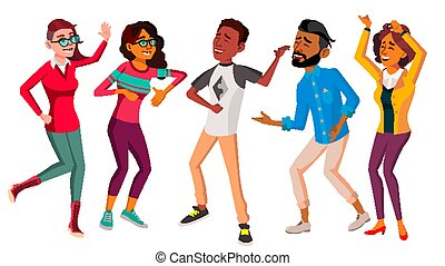 Dancing People Set Vector. People Dance. Move To Music....