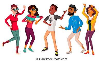 Dancing People Set Vector. People Dance. Move To Music....