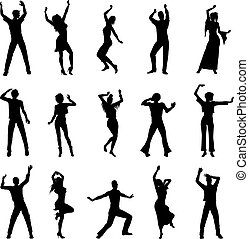 dancing people silhouettes isolated on white