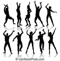 Dancing people silhouettes isolalated on white background